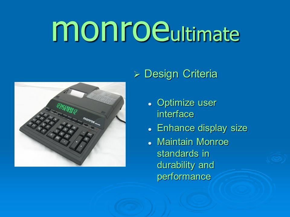 monroe ultimate  Design Criteria Optimize user interface Optimize user interface Enhance display size Enhance display size Maintain Monroe standards