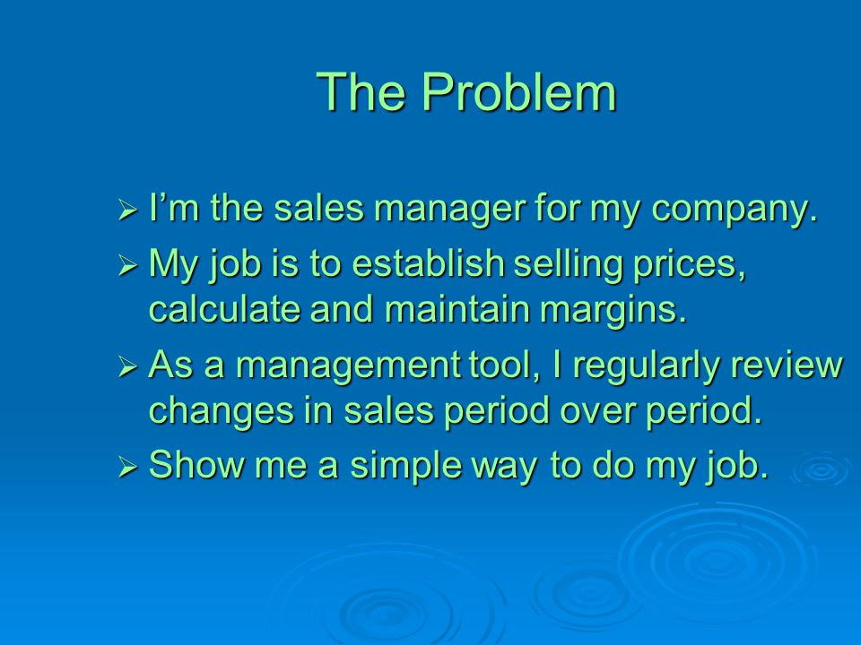 The Problem  I'm the sales manager for my company.  My job is to establish selling prices, calculate and maintain margins.  As a management tool, I