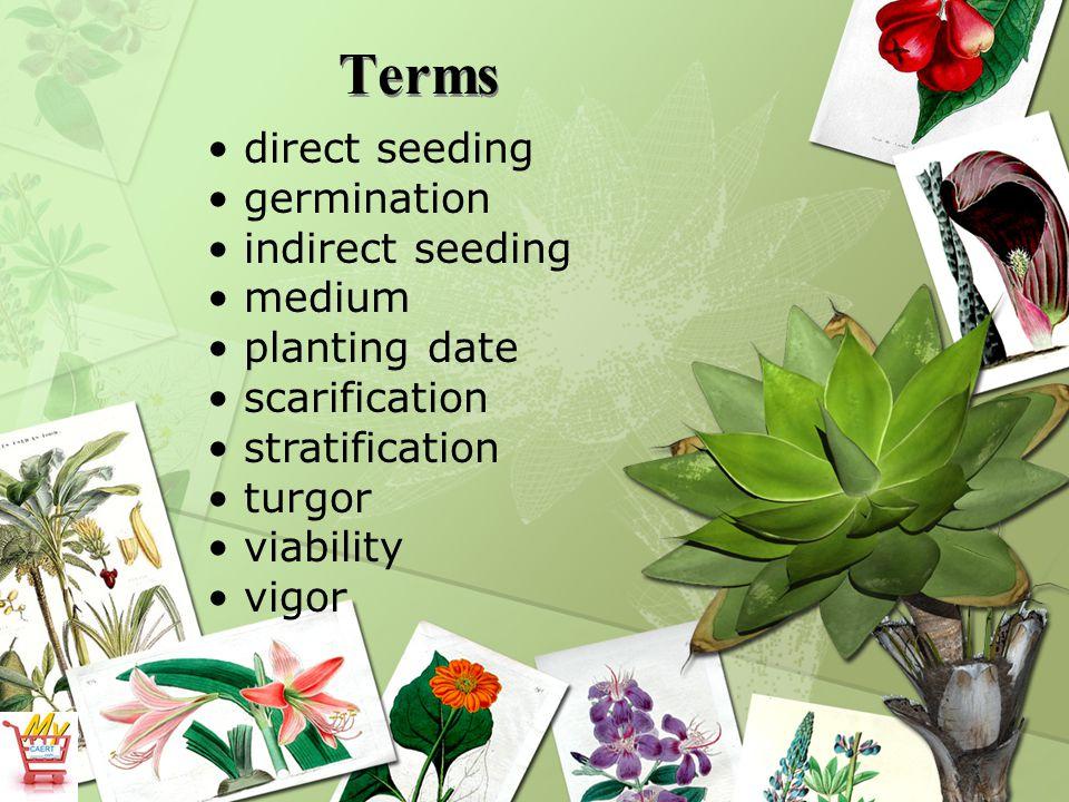 Terms direct seeding germination indirect seeding medium planting date scarification stratification turgor viability vigor