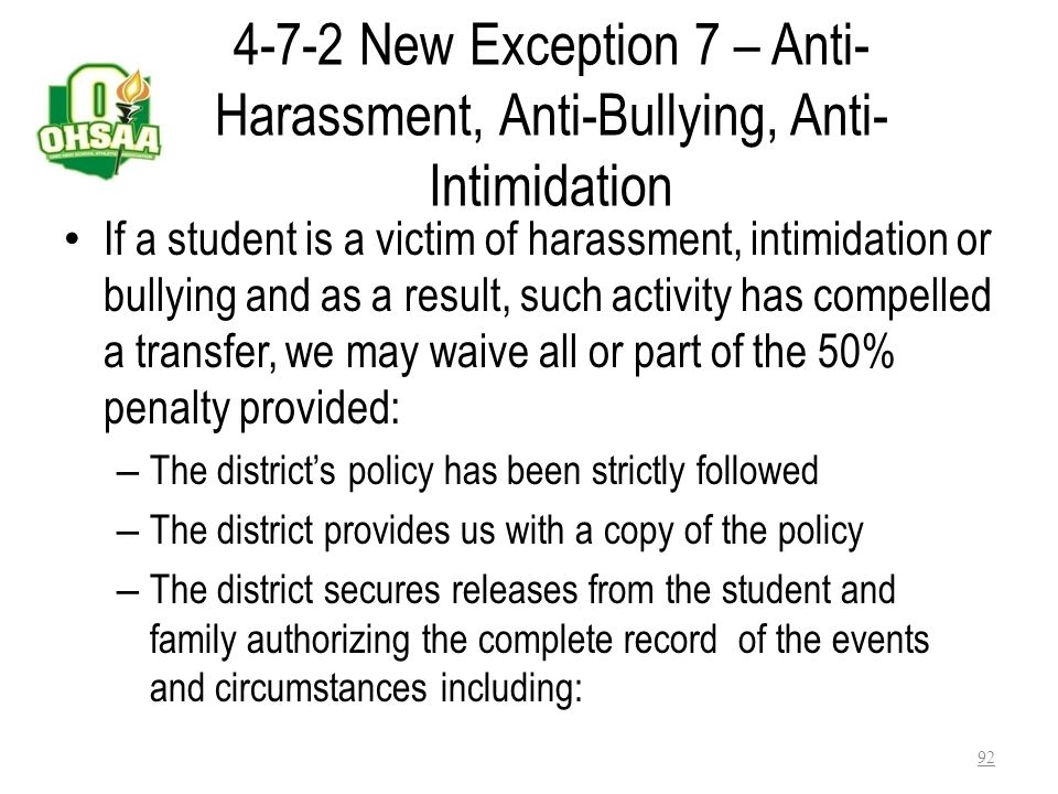Bylaw 4-7-2 Exception 5 - A student transferred to the State School For the Blind or State School for the Deaf shall be eligible upon enrollment. Exce