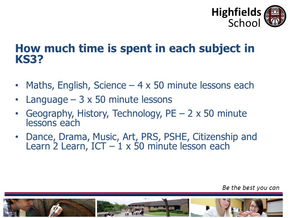 Highfields Be the best you can School How much time is spent in each subject in KS3.