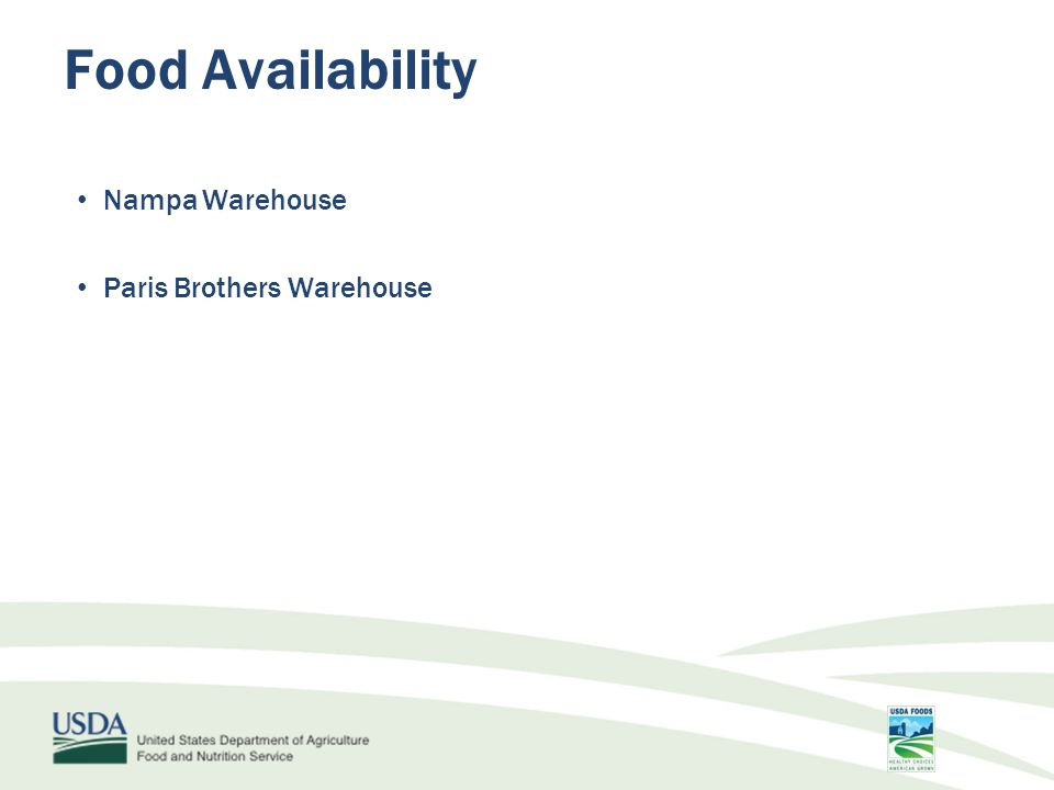 Nampa Warehouse Paris Brothers Warehouse Food Availability