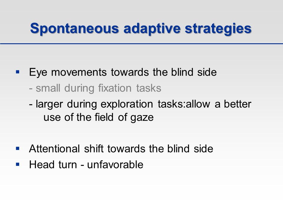 Spontaneous adaptive strategies  Eye movements towards the blind side - small during fixation tasks - larger during exploration tasks:allow a better