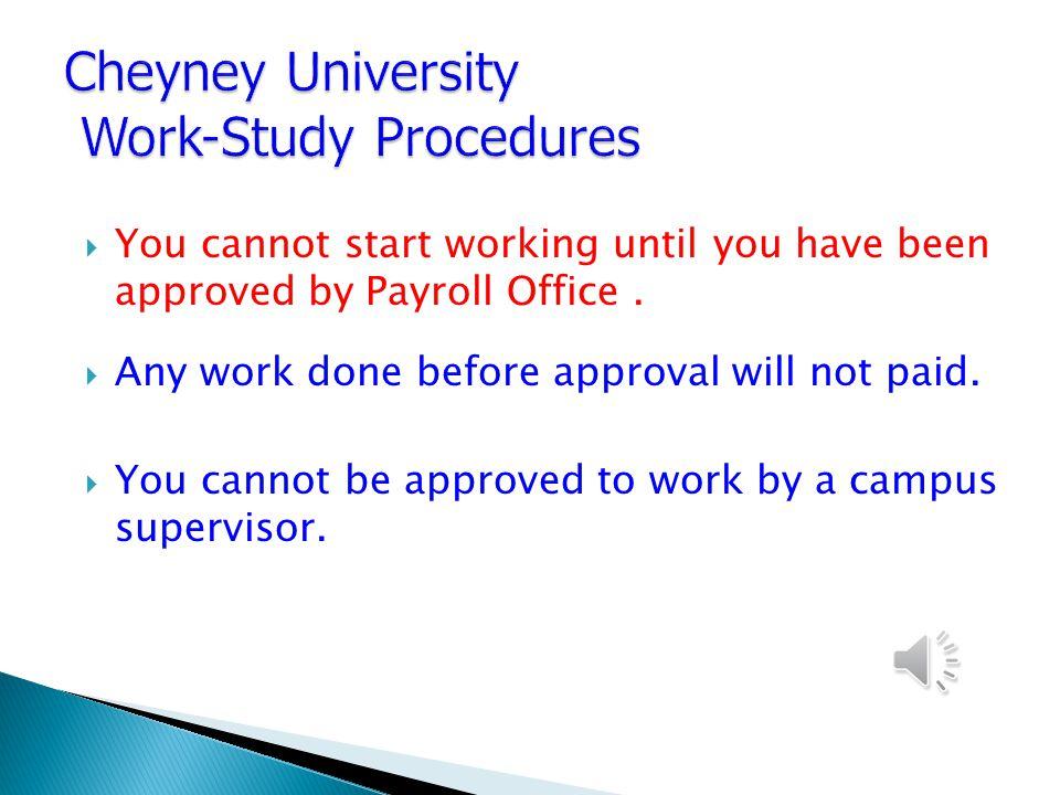 Cheyney University Federal Work-Study Program Information Presentation 2012-2013