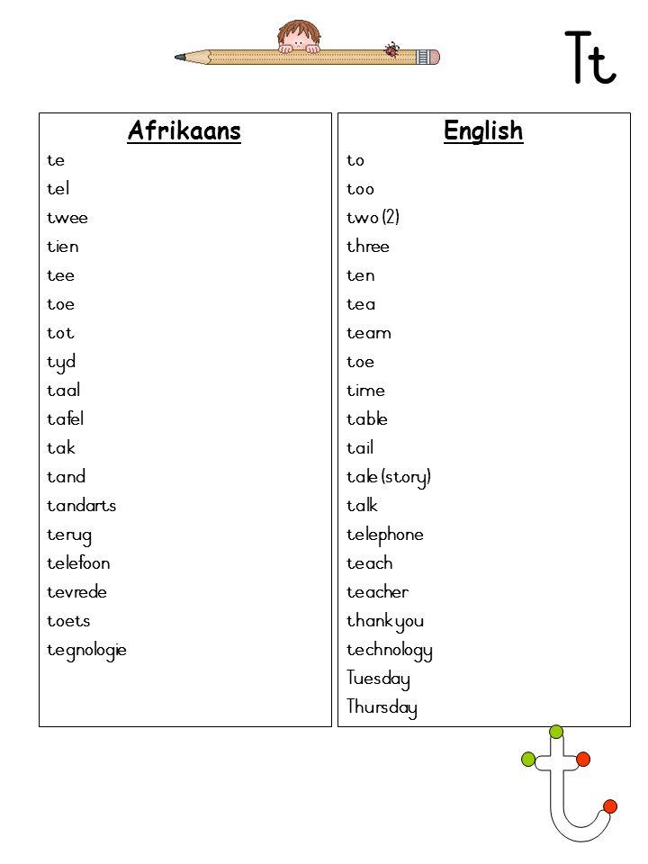 Tt Afrikaans te tel twee tien tee toe tot tyd taal tafel tak tand tandarts terug telefoon tevrede toets tegnologie English to too two (2) three ten te