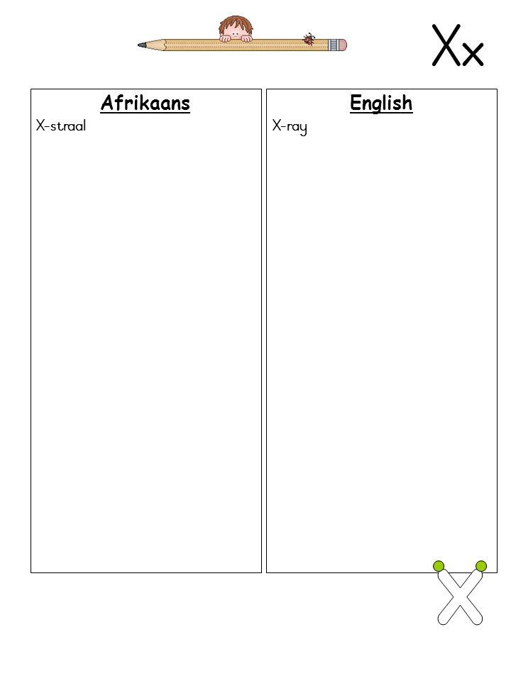 Xx Afrikaans X-straal English X-ray