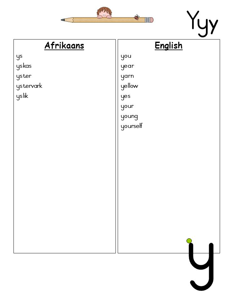 Yy y Afrikaans ys yskas yster ystervark yslik English you year yarn yellow yes your young yourself