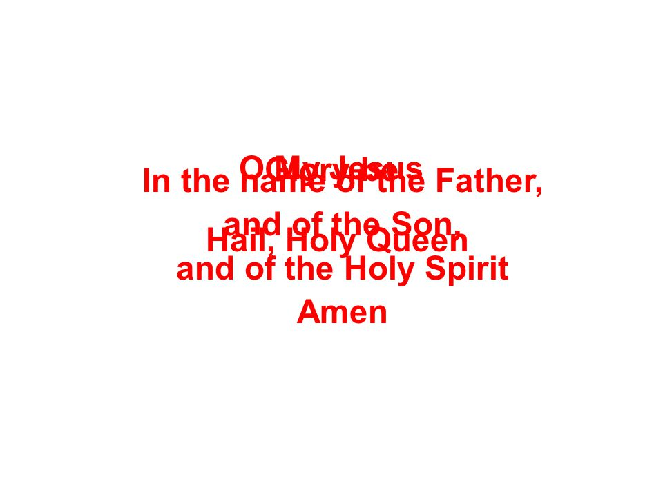 Glory be O My Jesus Hail, Holy Queen In the name of the Father, and of the Son, and of the Holy Spirit Amen