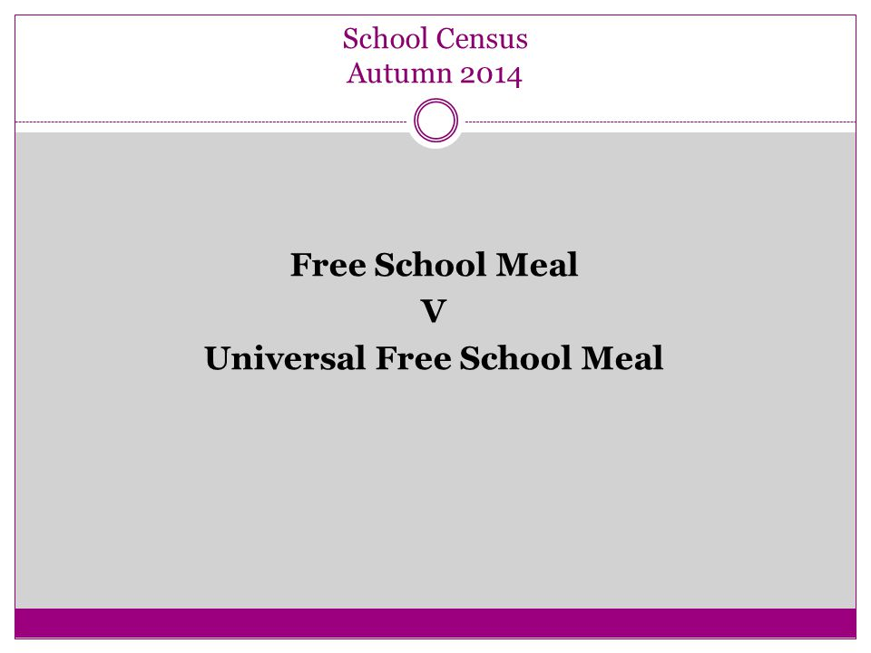 School Census Autumn 2014 Free School Meal V Universal Free School Meal