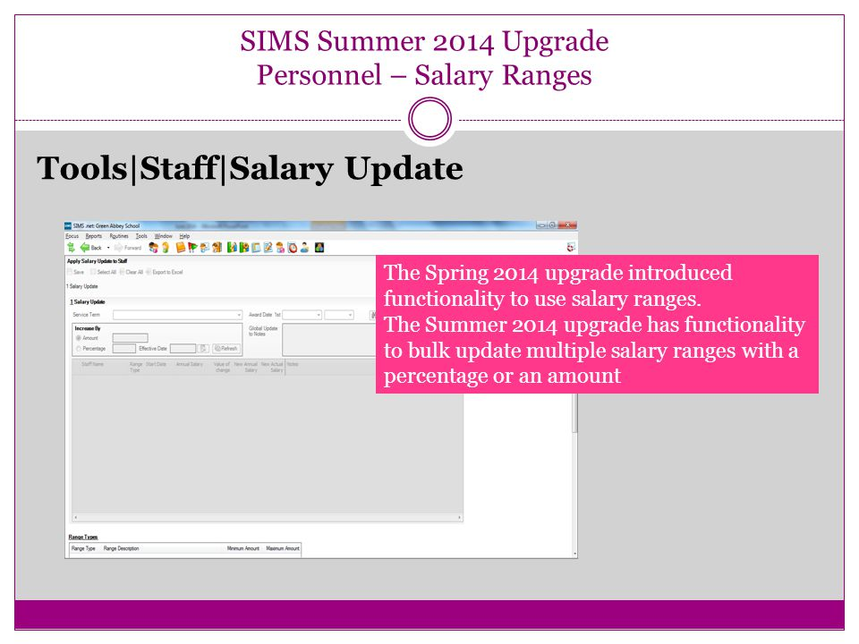 SIMS Summer 2014 Upgrade Personnel – Salary Ranges Tools|Staff|Salary Update The Spring 2014 upgrade introduced functionality to use salary ranges.