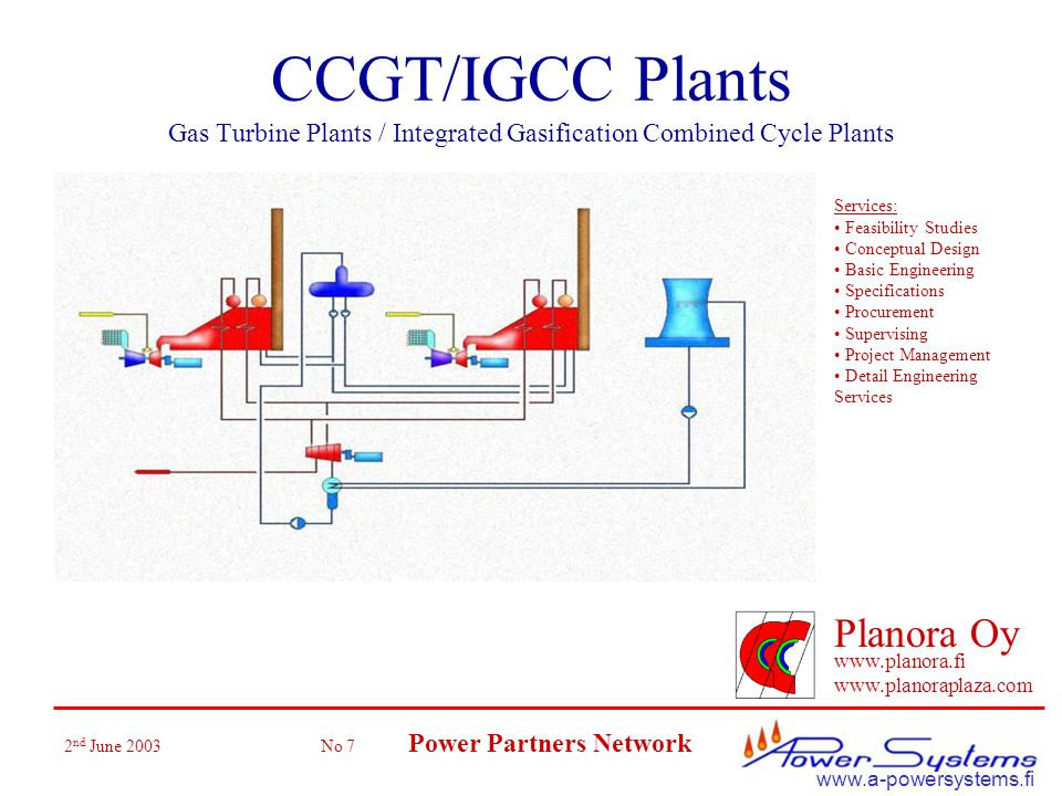 2 nd June 2003 No 7 Power Partners Network Planora Oy www.planora.fi www.planoraplaza.com www.a-powersystems.fi CCGT/IGCC Plants Gas Turbine Plants / Integrated Gasification Combined Cycle Plants Services: Feasibility Studies Conceptual Design Basic Engineering Specifications Procurement Supervising Project Management Detail Engineering Services