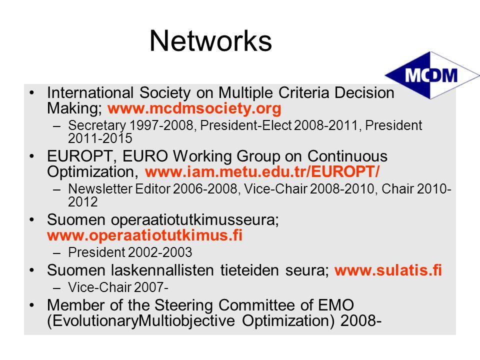 Networks International Society on Multiple Criteria Decision Making; www.mcdmsociety.org –Secretary 1997-2008, President-Elect 2008-2011, President 20