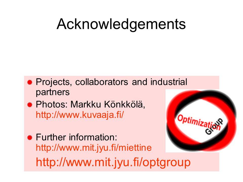 Acknowledgements  Projects, collaborators and industrial partners  Photos: Markku Könkkölä, http://www.kuvaaja.fi/  Further information: http://www