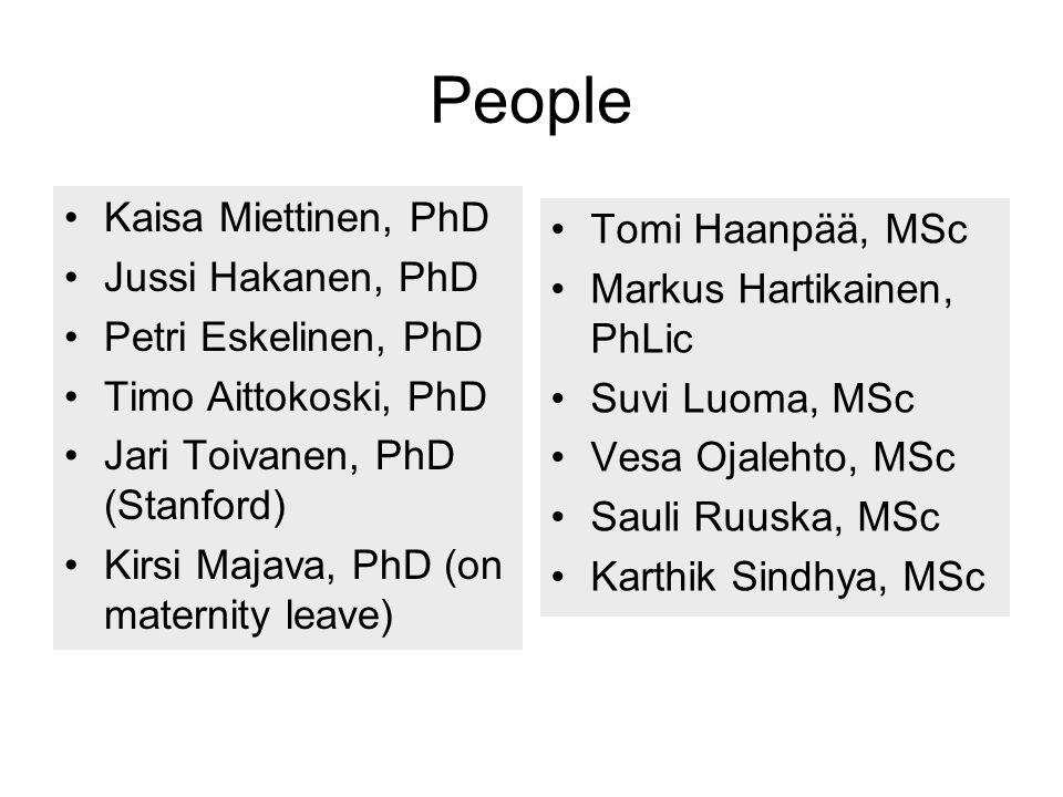 People Kaisa Miettinen, PhD Jussi Hakanen, PhD Petri Eskelinen, PhD Timo Aittokoski, PhD Jari Toivanen, PhD (Stanford) Kirsi Majava, PhD (on maternity