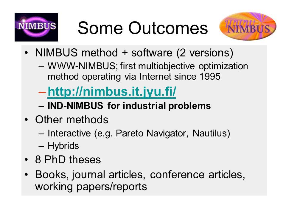 Some Outcomes NIMBUS method + software (2 versions) –WWW-NIMBUS; first multiobjective optimization method operating via Internet since 1995 –http://ni