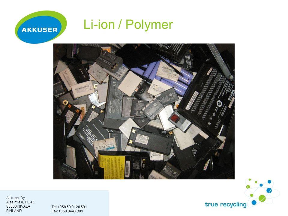 Akkuser Oy Alasintie 8, PL 45 85500 NIVALA FINLAND Tel +358 50 3120 591 Fax +358 8443 389 Li-ion / Polymer
