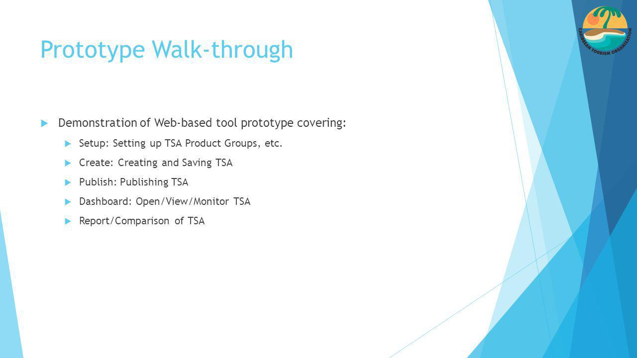 Prototype Walk-through  Demonstration of Web-based tool prototype covering:  Setup: Setting up TSA Product Groups, etc.