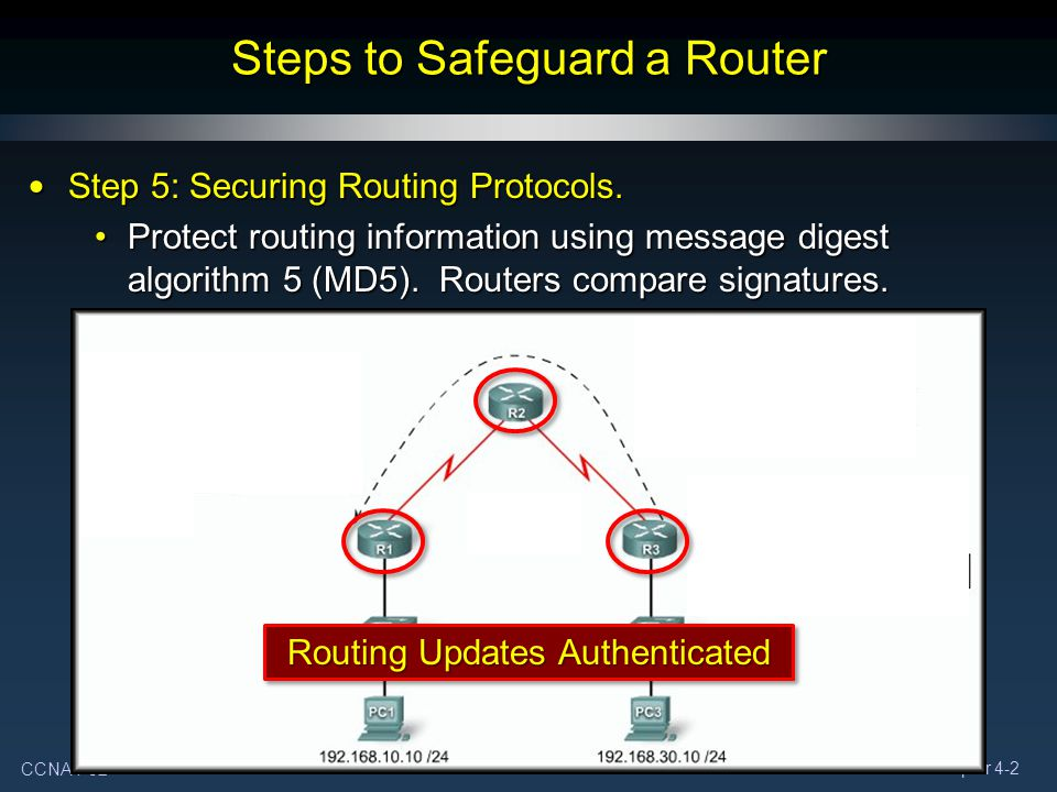 CCNA4-32 Chapter 4-2 Steps to Safeguard a Router Step 5: Securing Routing Protocols. Step 5: Securing Routing Protocols. Protect routing information u