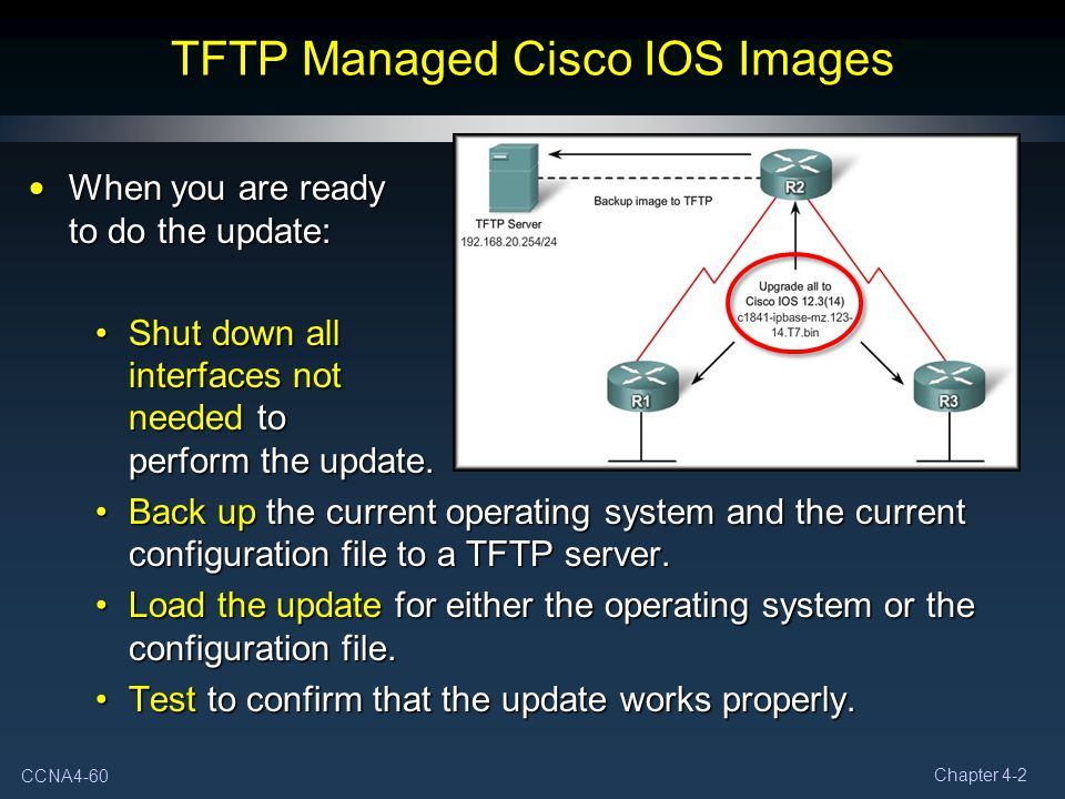 CCNA4-60 Chapter 4-2 TFTP Managed Cisco IOS Images When you are ready to do the update: When you are ready to do the update: Shut down all interfaces