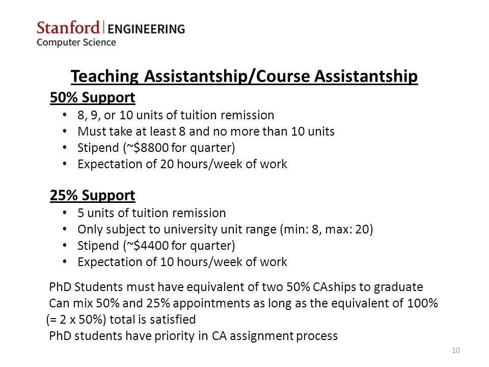 Teaching Assistantship/Course Assistantship 50% Support 8, 9, or 10 units of tuition remission Must take at least 8 and no more than 10 units Stipend (~$8800 for quarter) Expectation of 20 hours/week of work 25% Support 5 units of tuition remission Only subject to university unit range (min: 8, max: 20) Stipend (~$4400 for quarter) Expectation of 10 hours/week of work PhD Students must have equivalent of two 50% CAships to graduate Can mix 50% and 25% appointments as long as the equivalent of 100% (= 2 x 50%) total is satisfied PhD students have priority in CA assignment process 10