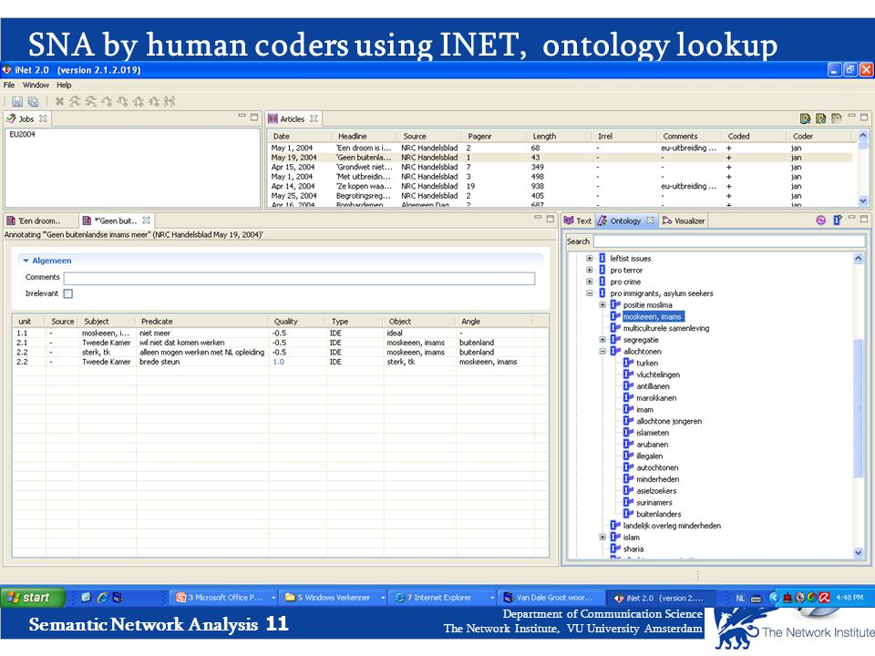 Semantic Network Analysis 11 Department of Communication Science The Network Institute, VU University Amsterdam SNA by human coders using INET, ontology lookup