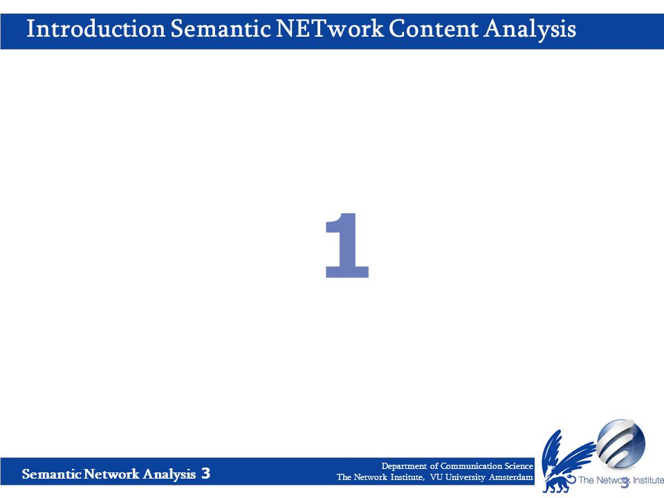 Semantic Network Analysis 3 Department of Communication Science The Network Institute, VU University Amsterdam Introduction Semantic NETwork Content A