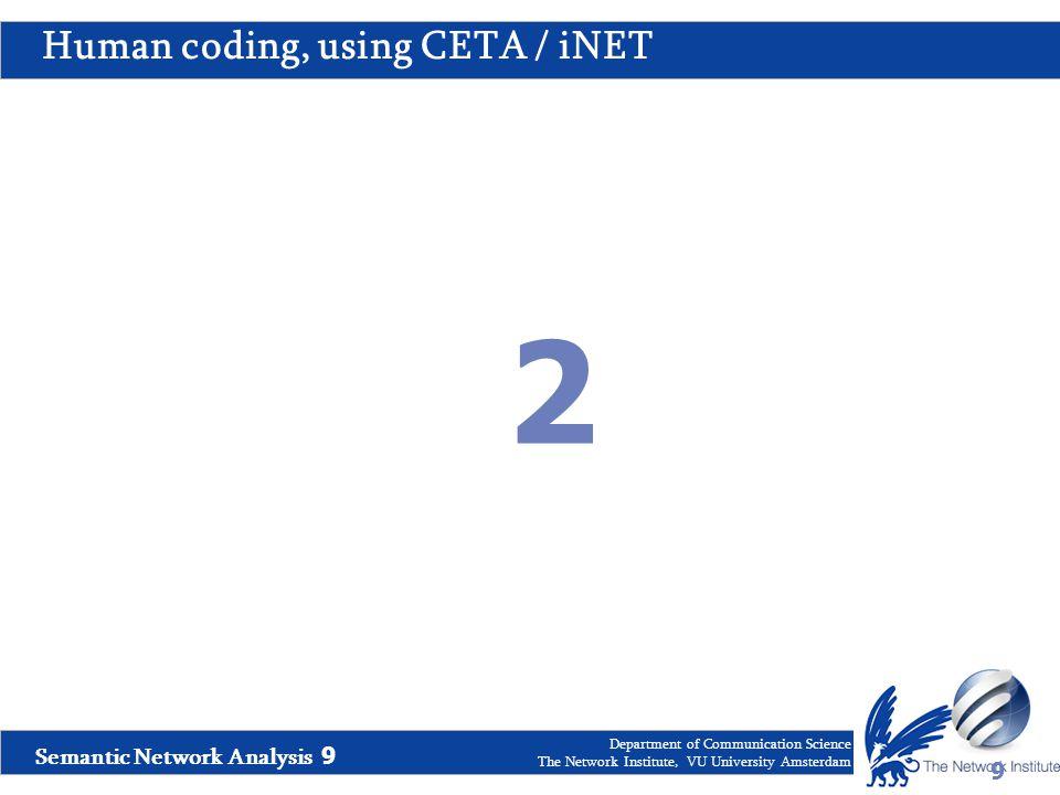 Semantic Network Analysis 9 Department of Communication Science The Network Institute, VU University Amsterdam Human coding, using CETA / iNET 9 2