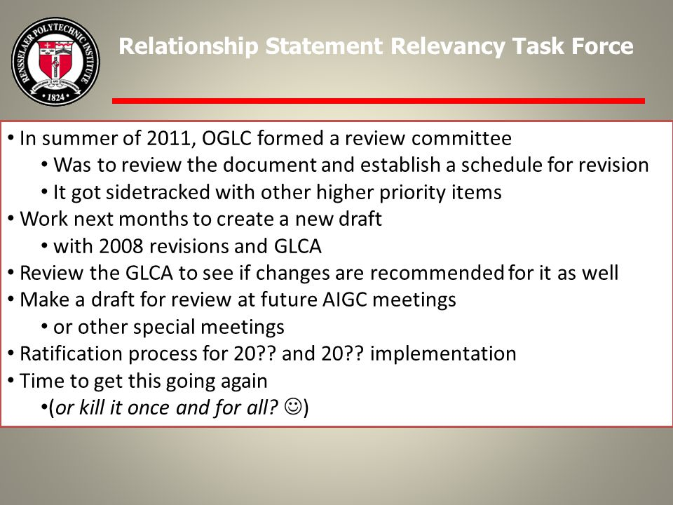 In summer of 2011, OGLC formed a review committee Was to review the document and establish a schedule for revision It got sidetracked with other higher priority items Work next months to create a new draft with 2008 revisions and GLCA Review the GLCA to see if changes are recommended for it as well Make a draft for review at future AIGC meetings or other special meetings Ratification process for 20 .