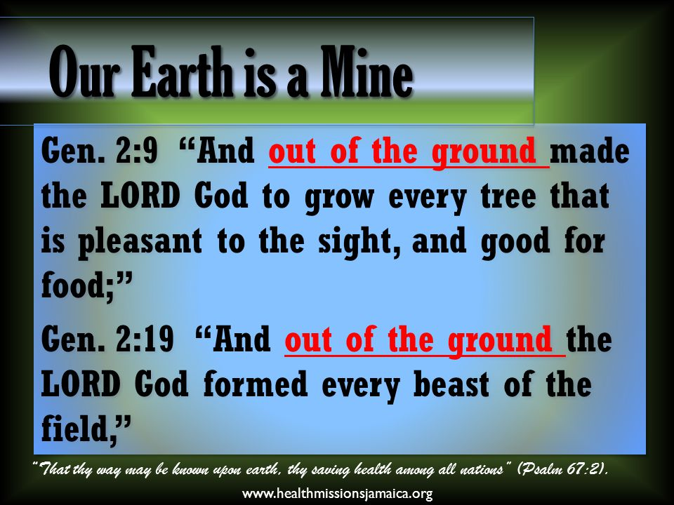 "Gen. 2:9 ""And out of the ground made the LORD God to grow every tree that is pleasant to the sight, and good for food;"" Gen. 2:19 ""And out of the grou"