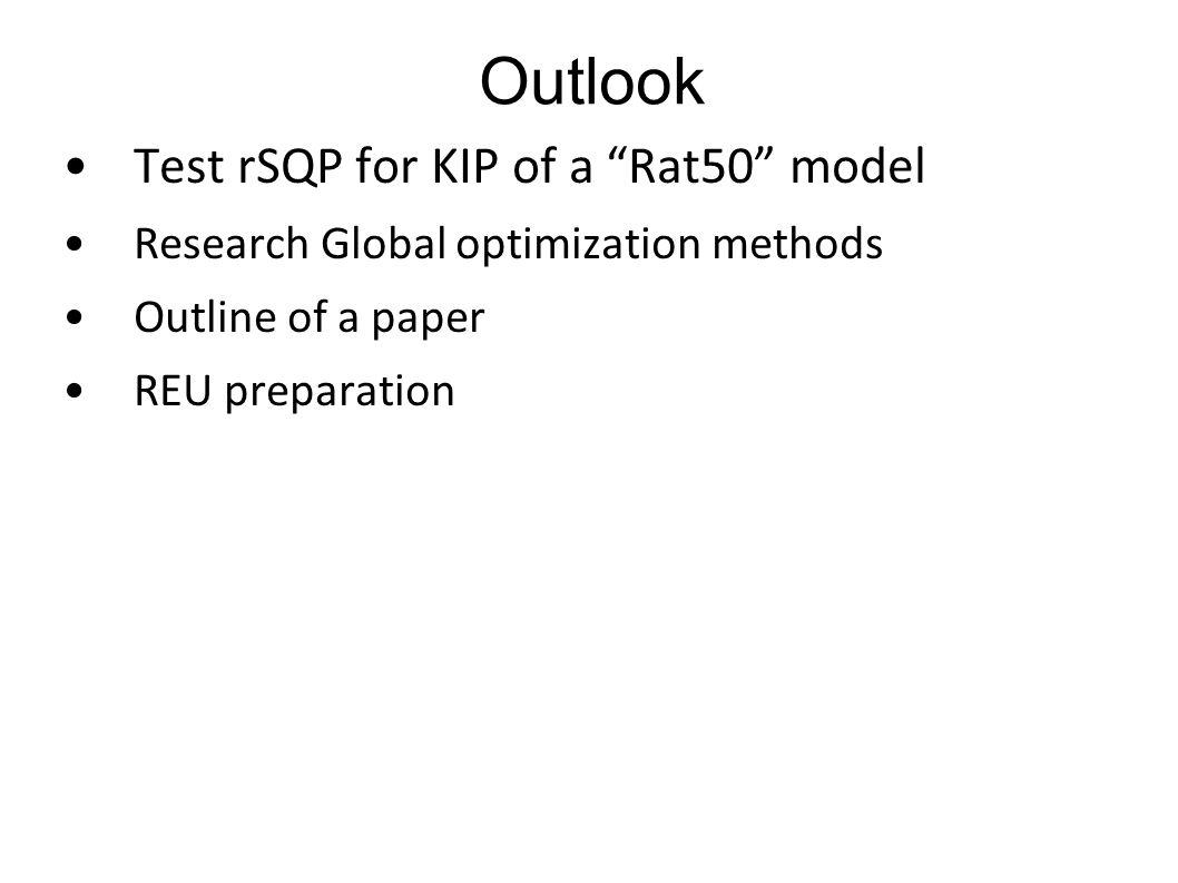 "Outlook Test rSQP for KIP of a ""Rat50"" model Research Global optimization methods Outline of a paper REU preparation"