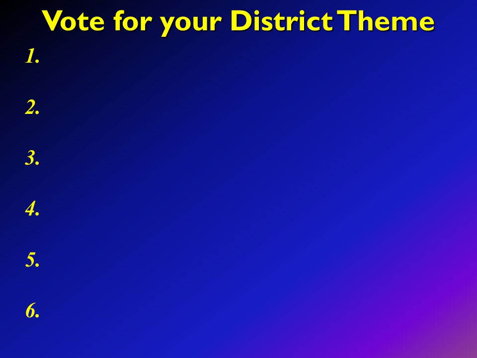Vote for your District Theme 1. 2. 3. 4. 5. 6.
