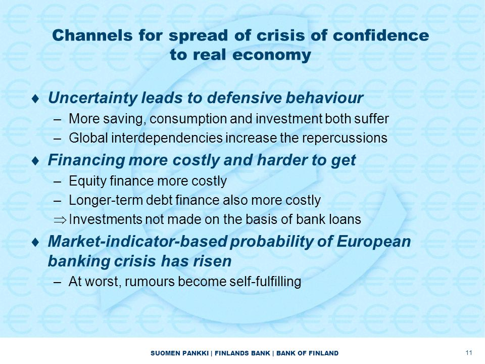 SUOMEN PANKKI | FINLANDS BANK | BANK OF FINLAND Channels for spread of crisis of confidence to real economy  Uncertainty leads to defensive behaviour