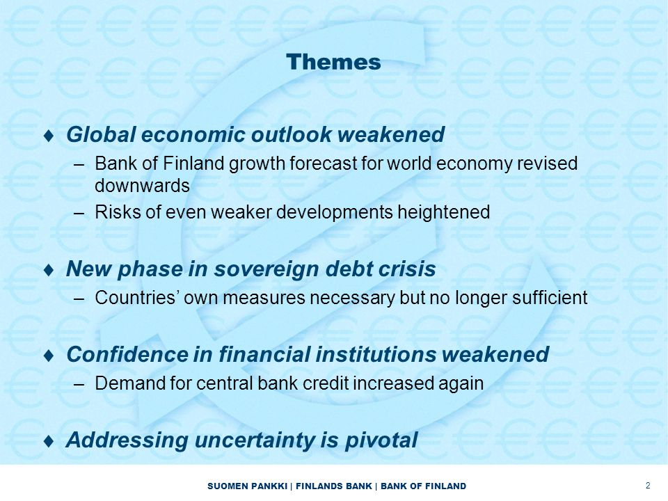 SUOMEN PANKKI | FINLANDS BANK | BANK OF FINLAND Themes  Global economic outlook weakened –Bank of Finland growth forecast for world economy revised d