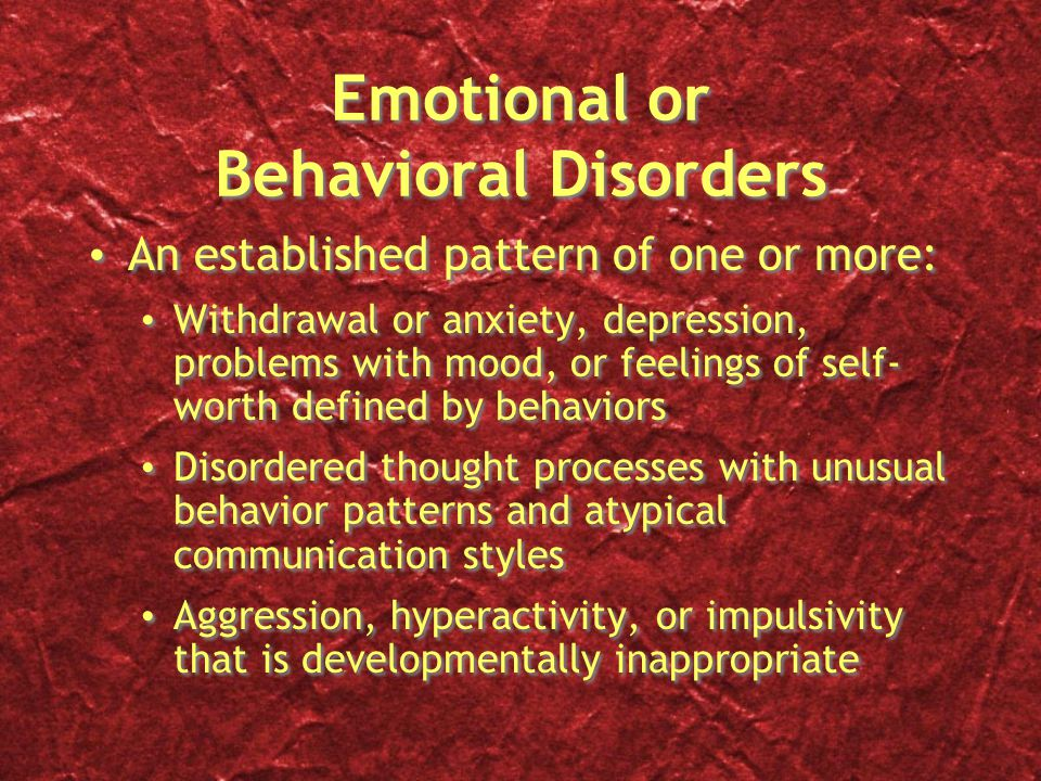 Reactive Attachment Disorder Disturbed and developmentally inappropriate social relatedness in most contexts Begins before age five, usually after a period of grossly inadequate care or multiple caretaker changes Disturbed and developmentally inappropriate social relatedness in most contexts Begins before age five, usually after a period of grossly inadequate care or multiple caretaker changes Destructive, self- injurious Absence of guilt or remorse Extreme defiance, provokes power struggles, manipulative Mood swings, rages Inappropriately demanding or clinging Destructive, self- injurious Absence of guilt or remorse Extreme defiance, provokes power struggles, manipulative Mood swings, rages Inappropriately demanding or clinging