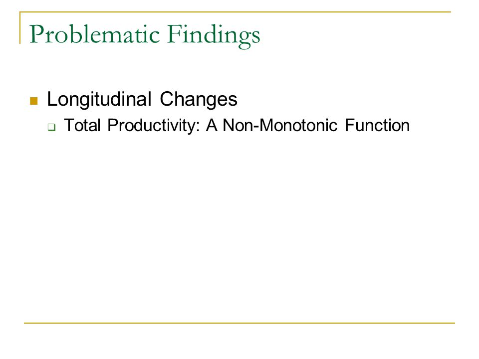 Problematic Findings Longitudinal Changes  Total Productivity: A Non-Monotonic Function