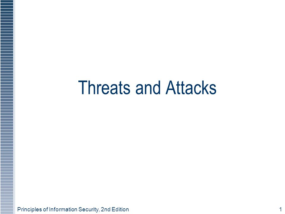Principles of Information Security, 2nd Edition1 Threats and Attacks