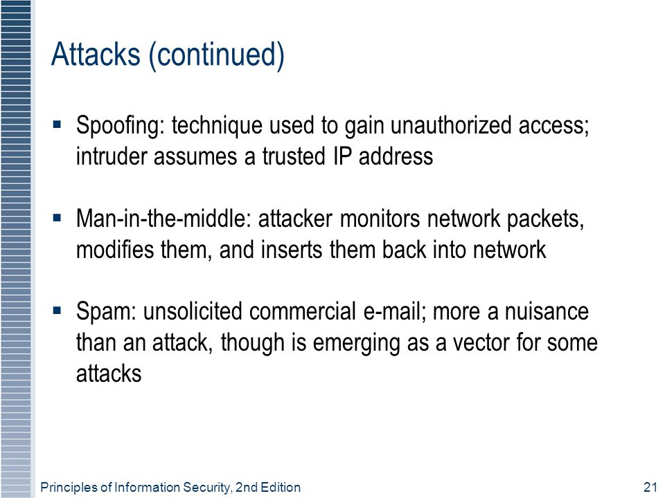 Principles of Information Security, 2nd Edition21 Attacks (continued)  Spoofing: technique used to gain unauthorized access; intruder assumes a trusted IP address  Man-in-the-middle: attacker monitors network packets, modifies them, and inserts them back into network  Spam: unsolicited commercial e-mail; more a nuisance than an attack, though is emerging as a vector for some attacks