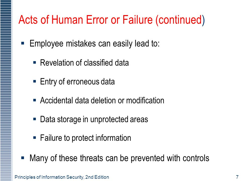 Principles of Information Security, 2nd Edition7 Acts of Human Error or Failure (continued)  Employee mistakes can easily lead to:  Revelation of classified data  Entry of erroneous data  Accidental data deletion or modification  Data storage in unprotected areas  Failure to protect information  Many of these threats can be prevented with controls