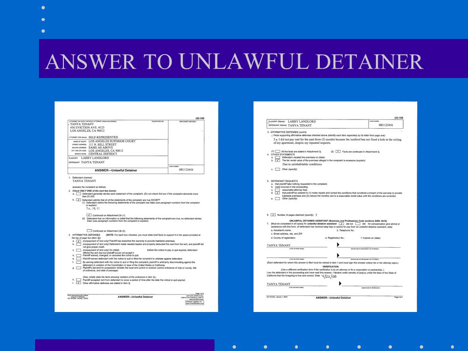 ANSWER TO UNLAWFUL DETAINER