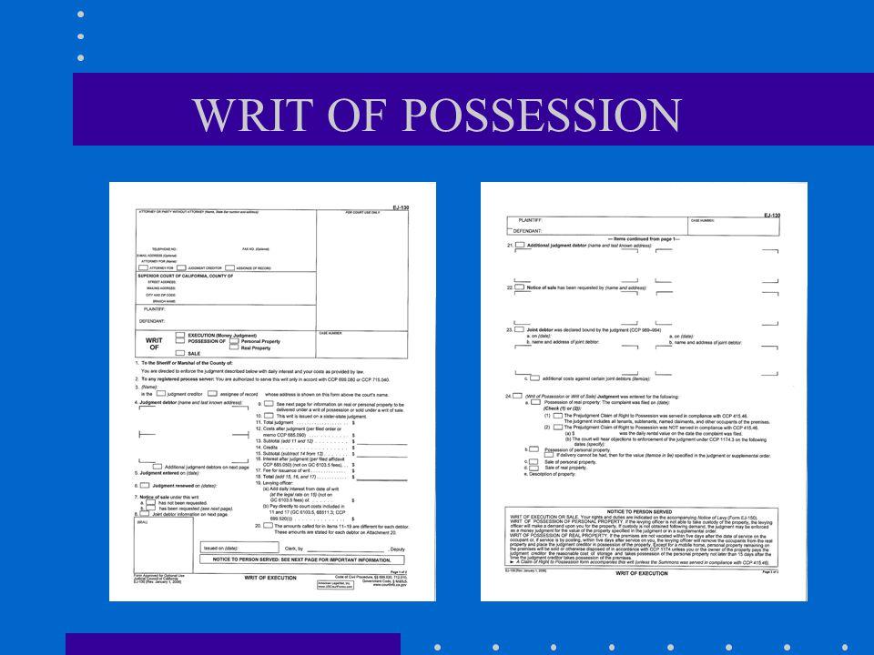 WRIT OF POSSESSION