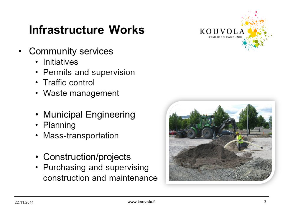 www.kouvola.fi3 22.11.2014 Infrastructure Works Community services Initiatives Permits and supervision Traffic control Waste management Municipal Engineering Planning Mass-transportation Construction/projects Purchasing and supervising construction and maintenance
