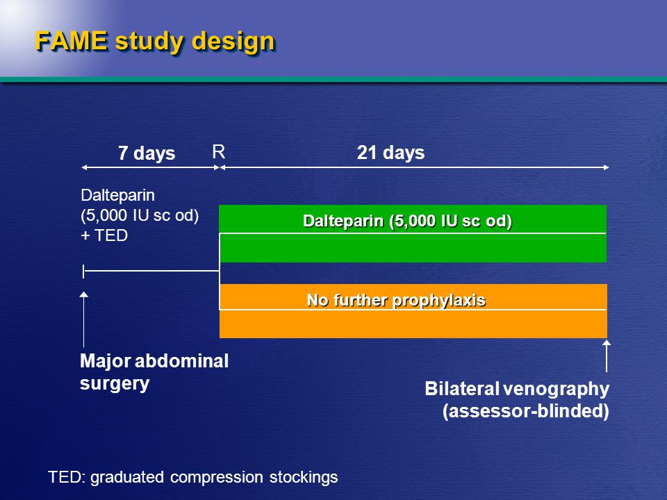 FAME study design Major abdominal surgery Bilateral venography (assessor-blinded) 7 days 21 days Dalteparin (5,000 IU sc od) + TED Dalteparin (5,000 IU sc od) No further prophylaxis R TED: graduated compression stockings
