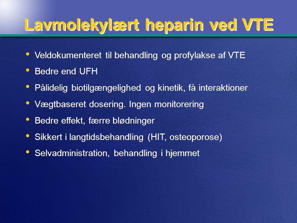 Lavmolekylært heparin ved VTE Veldokumenteret til behandling og profylakse af VTE Bedre end UFH Pålidelig biotilgængelighed og kinetik, få interaktioner Vægtbaseret dosering.