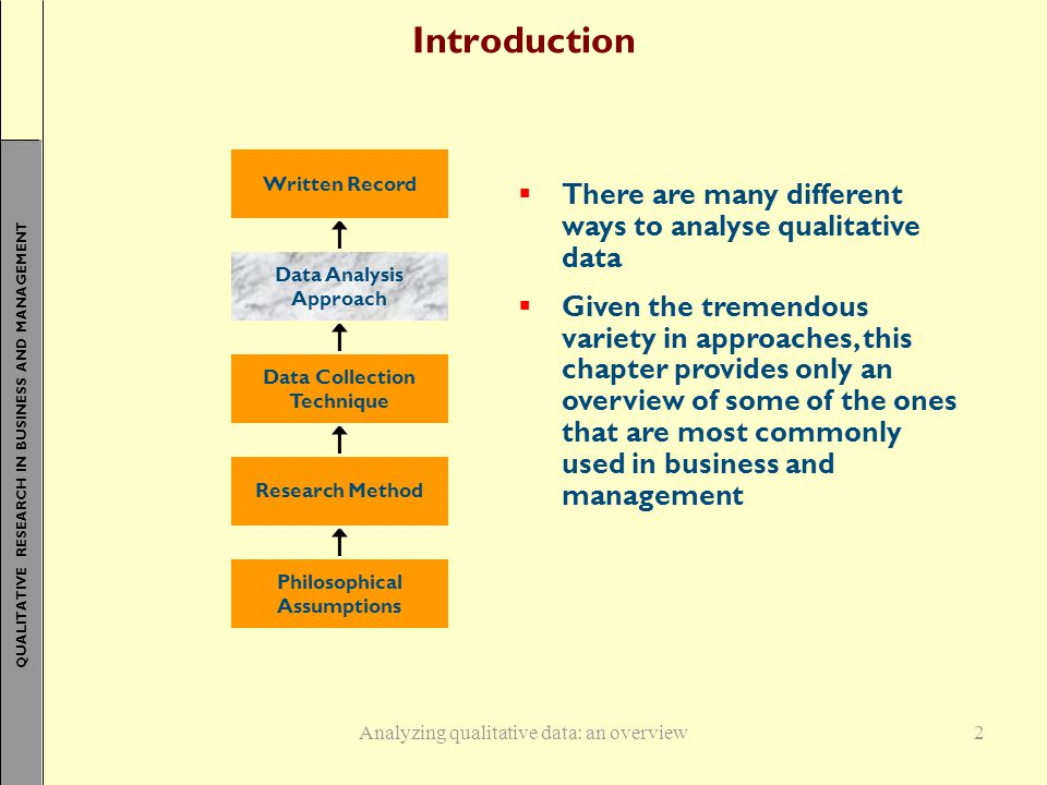QUALITATIVE RESEARCH IN BUSINESS AND MANAGEMENT Introduction  There are many different ways to analyse qualitative data  Given the tremendous variety in approaches, this chapter provides only an overview of some of the ones that are most commonly used in business and management Analyzing qualitative data: an overview Written Record Data Analysis Approach Data Collection Technique Research Method Philosophical Assumptions 2