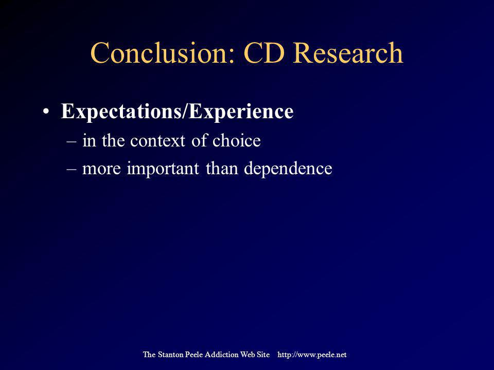 The Stanton Peele Addiction Web Site http://www.peele.net Conclusion: CD Research Expectations/Experience –in the context of choice –more important than dependence