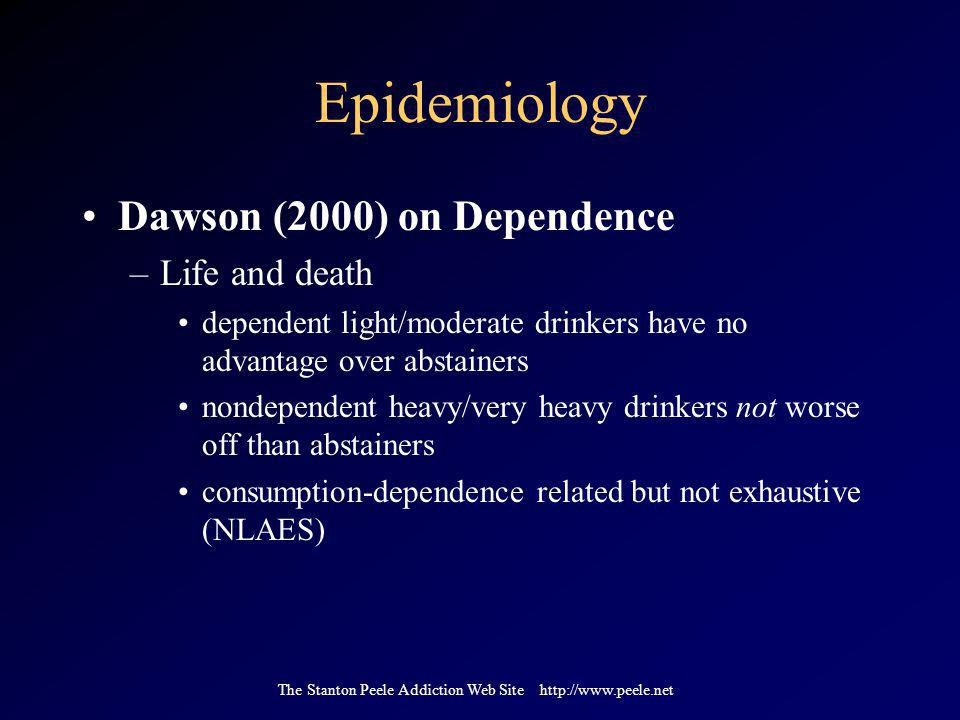 The Stanton Peele Addiction Web Site http://www.peele.net Epidemiology Dawson (2000) on Dependence –Life and death dependent light/moderate drinkers have no advantage over abstainers nondependent heavy/very heavy drinkers not worse off than abstainers consumption-dependence related but not exhaustive (NLAES)
