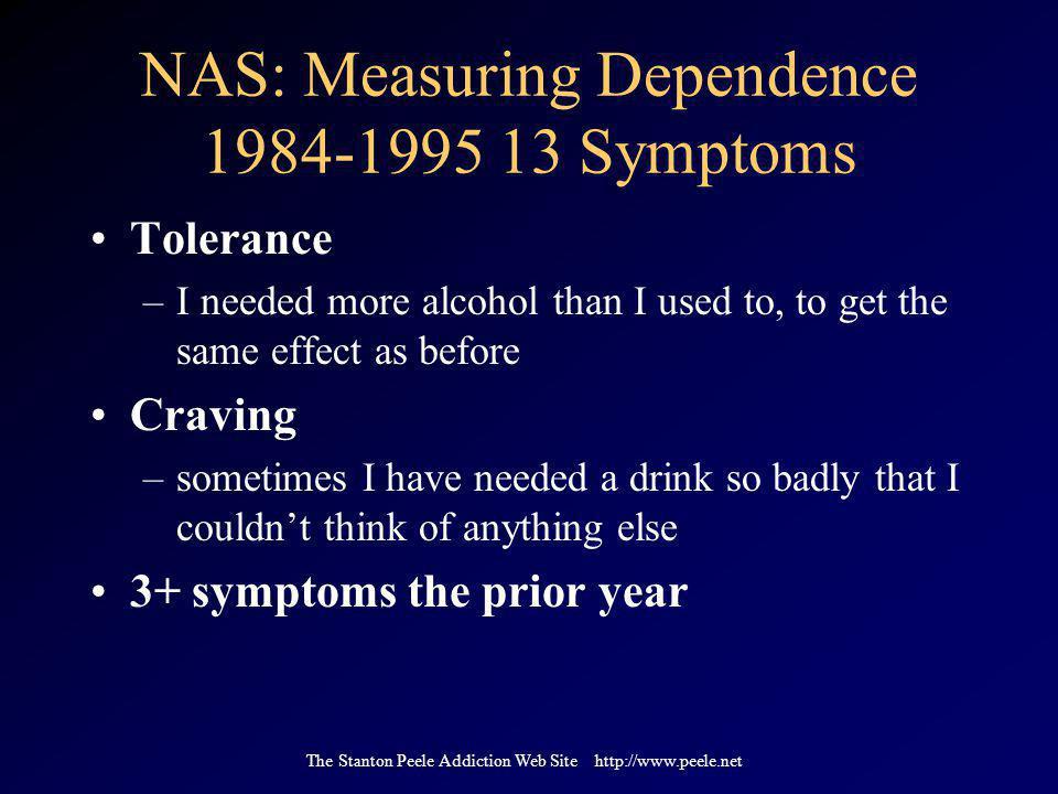 The Stanton Peele Addiction Web Site http://www.peele.net NAS: Measuring Dependence 1984-1995 13 Symptoms Tolerance –I needed more alcohol than I used