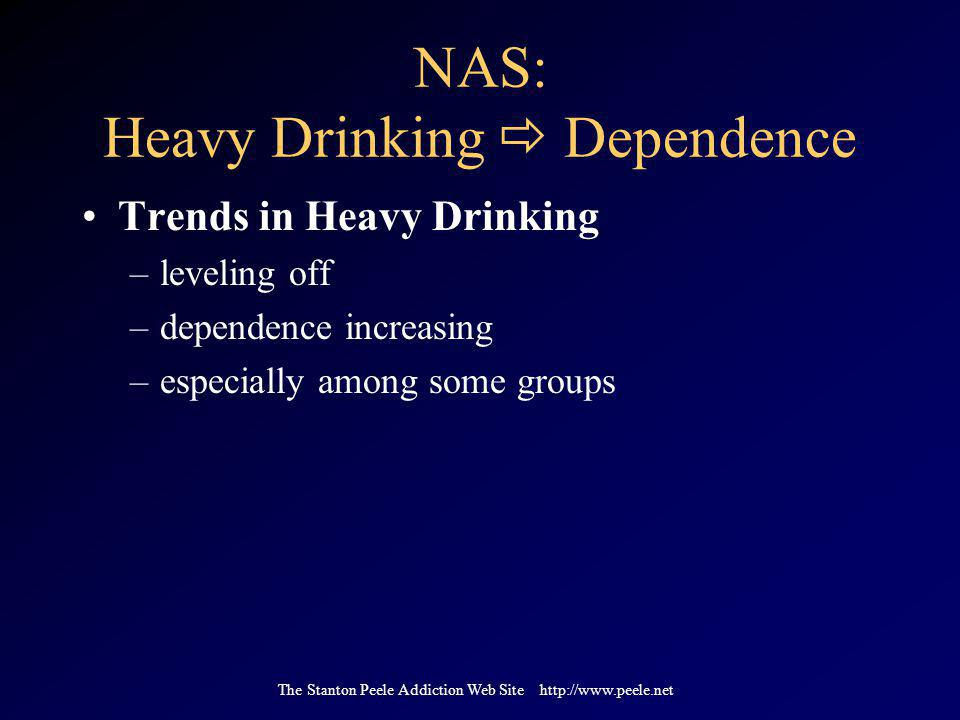 The Stanton Peele Addiction Web Site http://www.peele.net NAS: Heavy Drinking  Dependence Trends in Heavy Drinking –leveling off –dependence increasing –especially among some groups