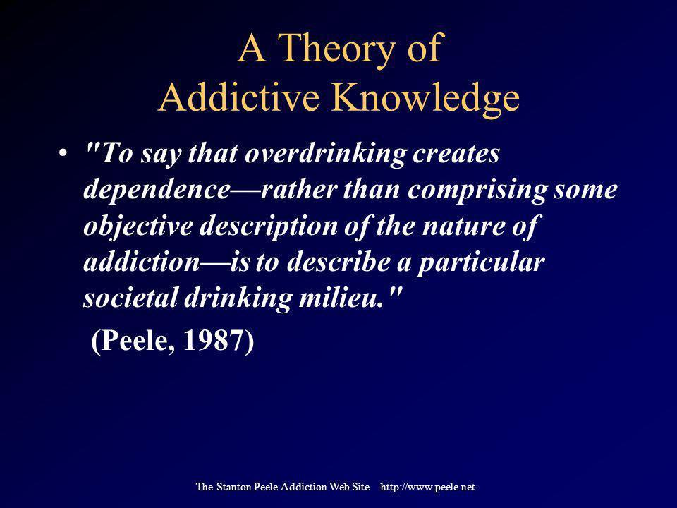 The Stanton Peele Addiction Web Site http://www.peele.net A Theory of Addictive Knowledge