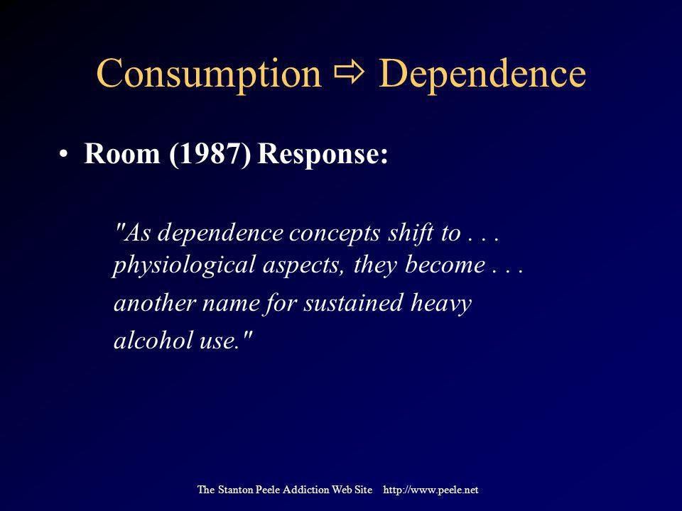The Stanton Peele Addiction Web Site http://www.peele.net Consumption  Dependence Room (1987) Response: As dependence concepts shift to...